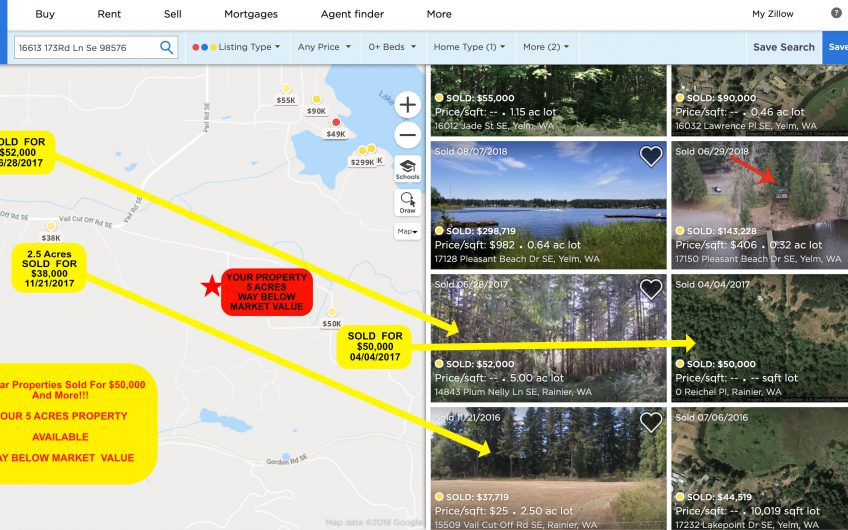 5 ACRES WAY BELOW MARKET VALUE – SIMILAR PROPERTIES SOLD FOR $50k AND MORE